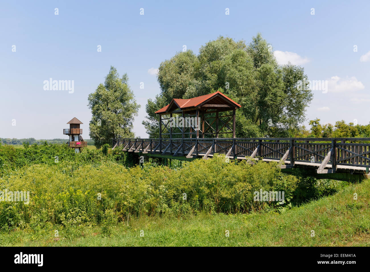 Andau bridge over the Einser-Kanal canal, Andau, Seewinkel, state border to Hungary, Northern Burgenland, Burgenland, - Stock Image