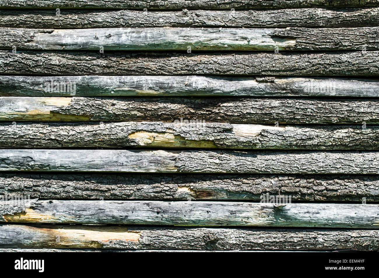 Wooden slats disposed horizontally forming a wall , background - Stock Image