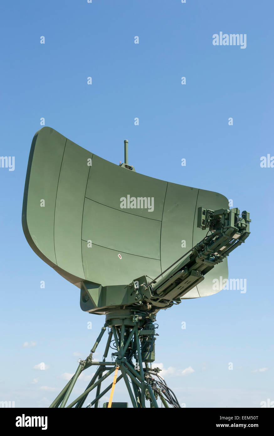 Modern military radar with long range target localization capabilities,front view - Stock Image