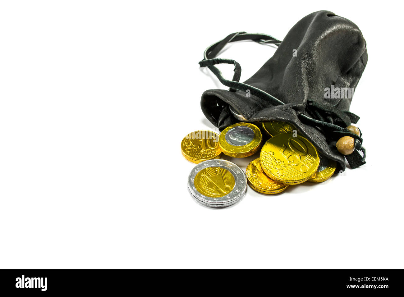 Money, represented by gold and silver coins pouring out of a leather pouch , isolated on white background - Stock Image