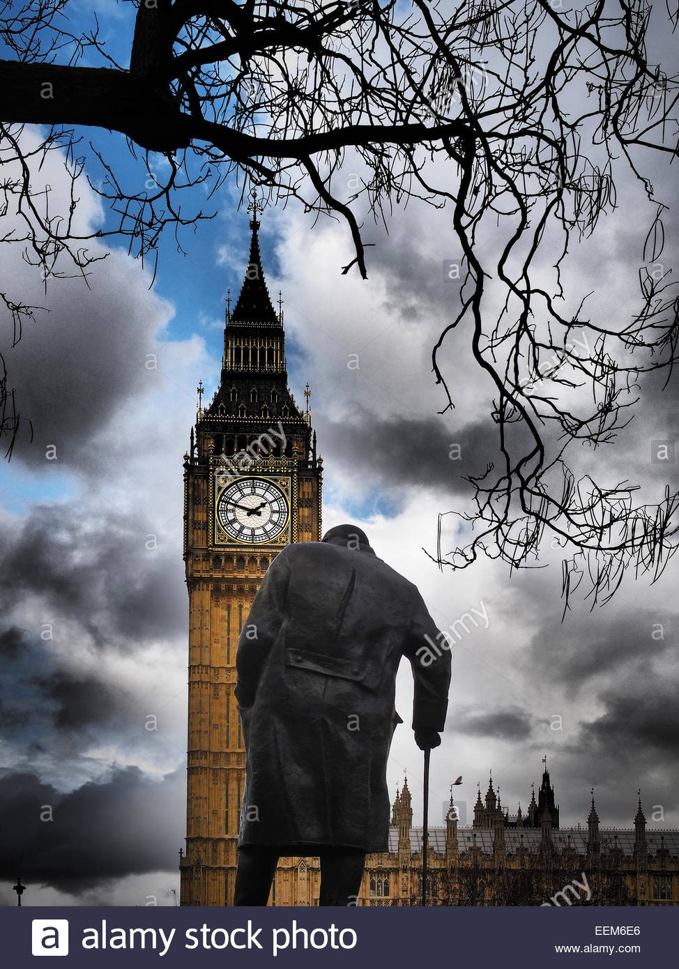 UK, England, London, View of Big Ben and Churchill statue - Stock Image