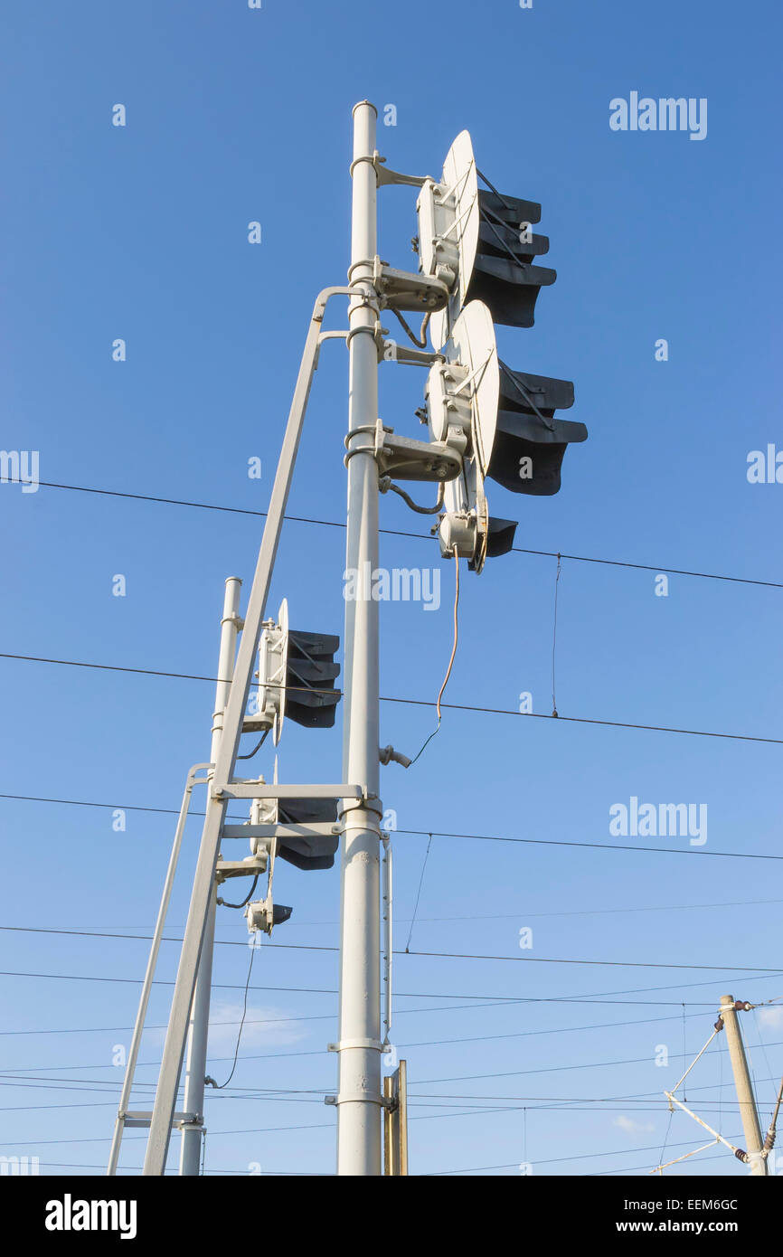 Couple of railway traffic lights for train movement regulation, side viewed - Stock Image