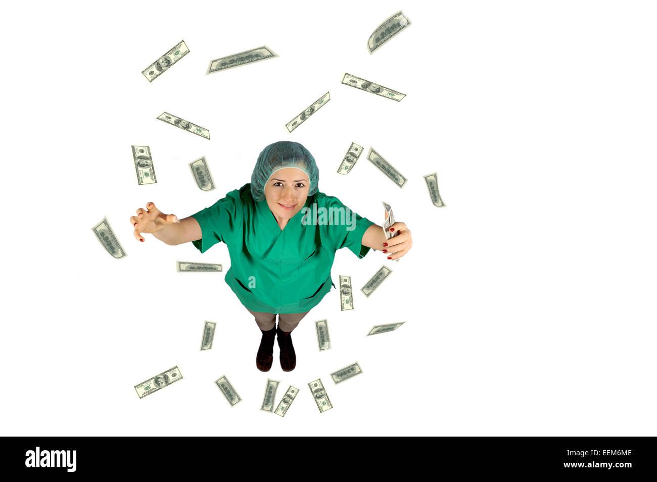 surgeon wages jackpot money flying dollar isolated on white background - Stock Image