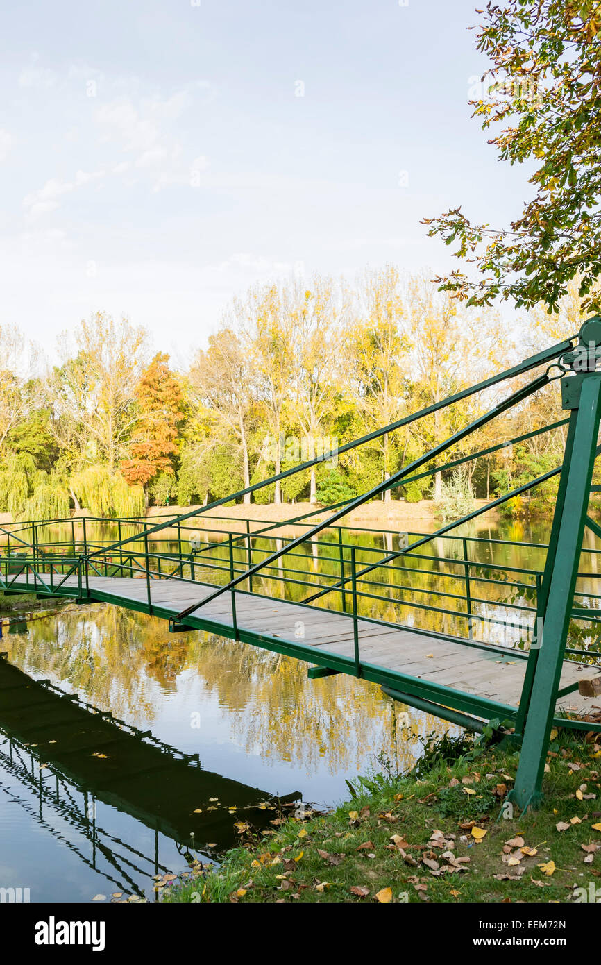Metallic frame bridge over a small lake with its reflection on water , autumn landscape - Stock Image