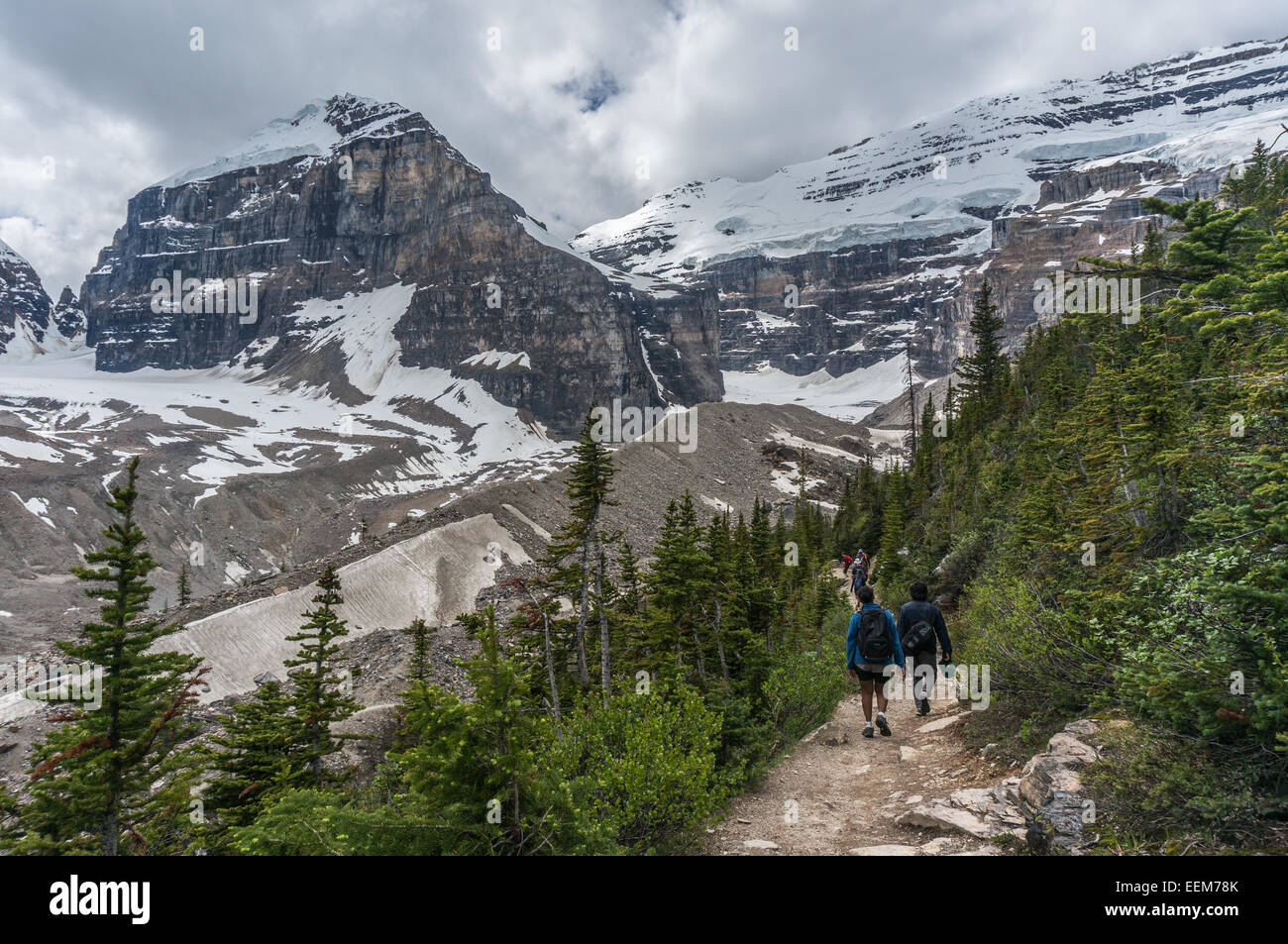 Canada, Banff National Park, Canadian Rockies, Plain of Six Glaciers, Rear view of hikers walking along trail Stock Photo