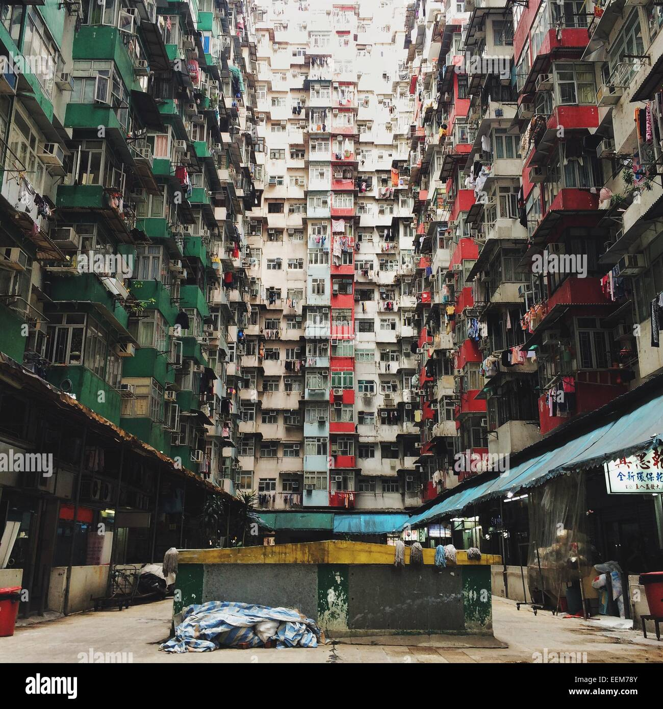 Hong Kong Apartments: China, Hong Kong, View Of Apartment Building Stock Photo