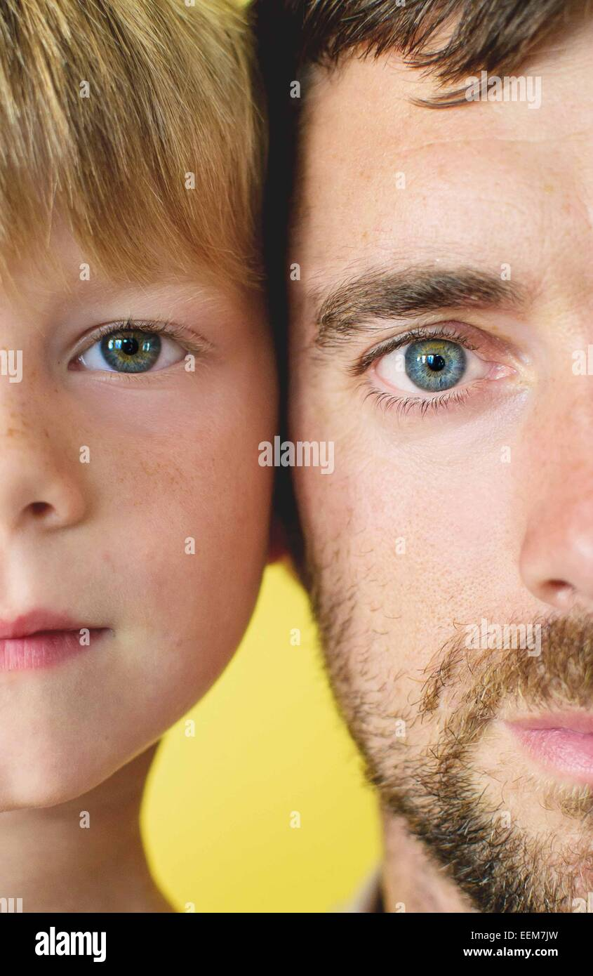 Cross section of father and son's (4-5) faces - Stock Image