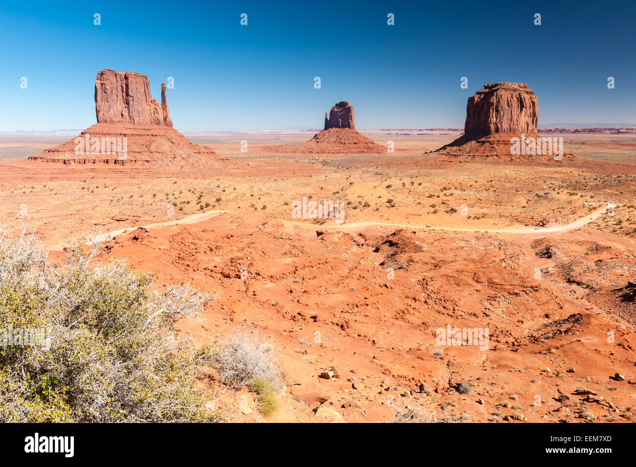 USA, Utah, Navajo Nation, Monument Valley, Monument Valley Navajo Tribal Park, The Mittens - Stock Image