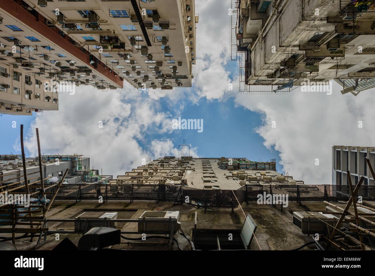 Hongkong, Low angle view of Chungking Mansions - Stock Image