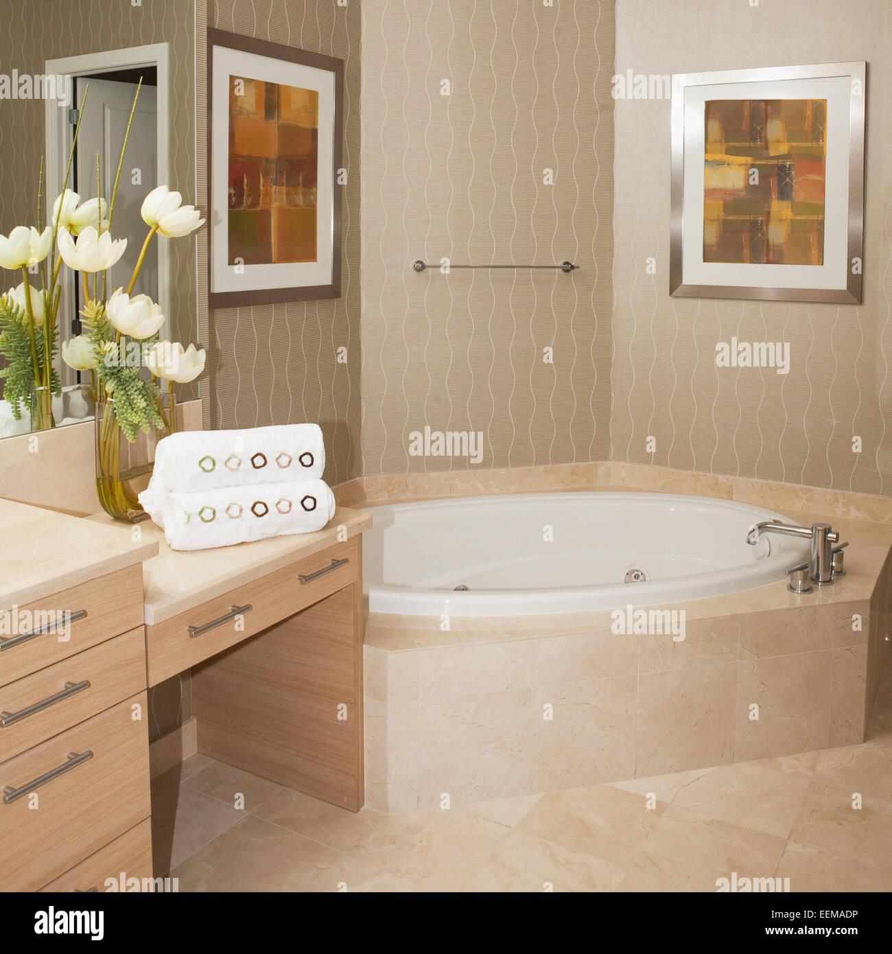 Bathtub Wall Art And Countertops In Bathroom Stock Photo Alamy