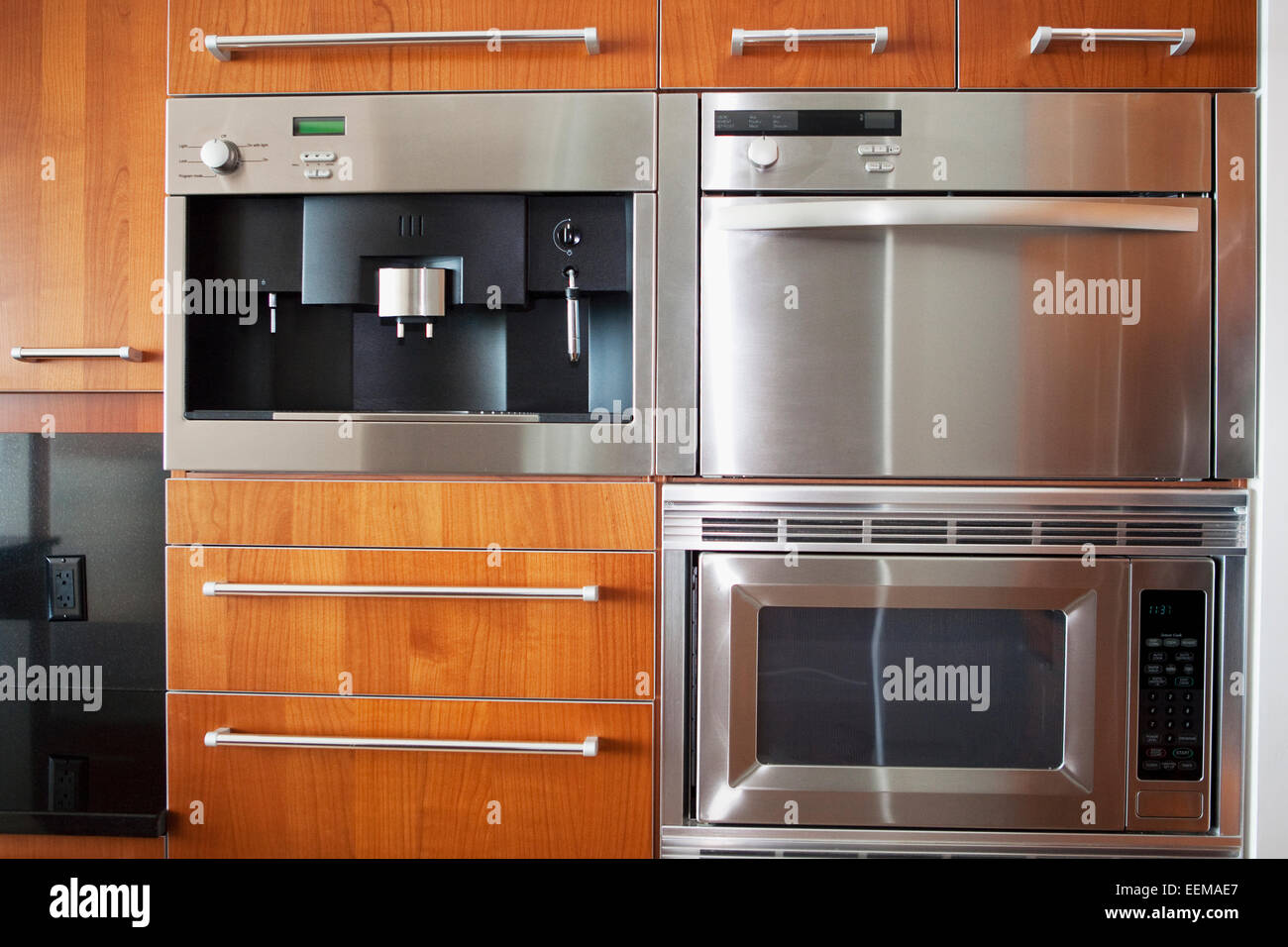 Ovens, microwave and cabinets in modern kitchen Stock Photo - Alamy