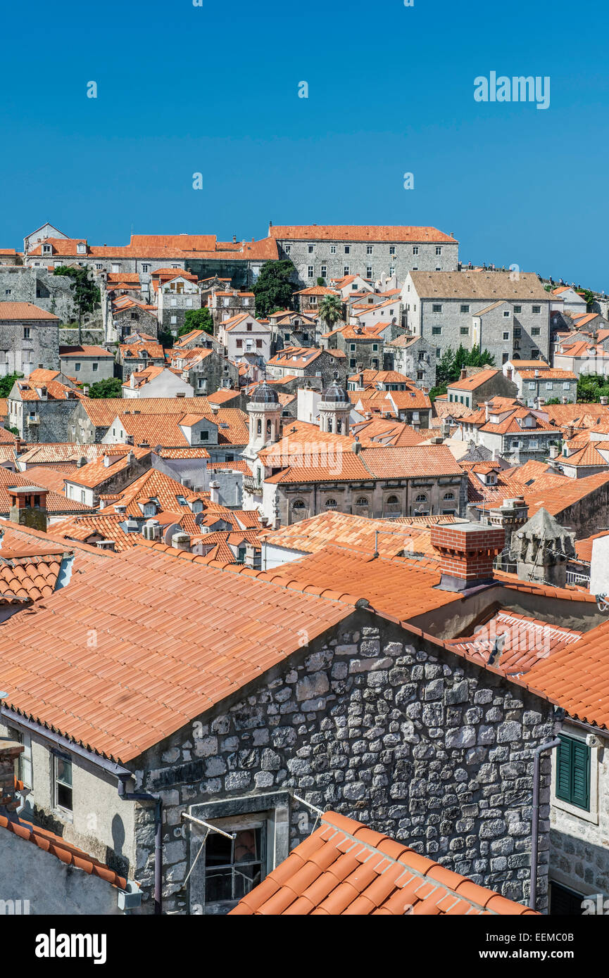 Rooftops of city on hillside, Dubrovnik, Dubrovnik-Neretva, Croatia - Stock Image