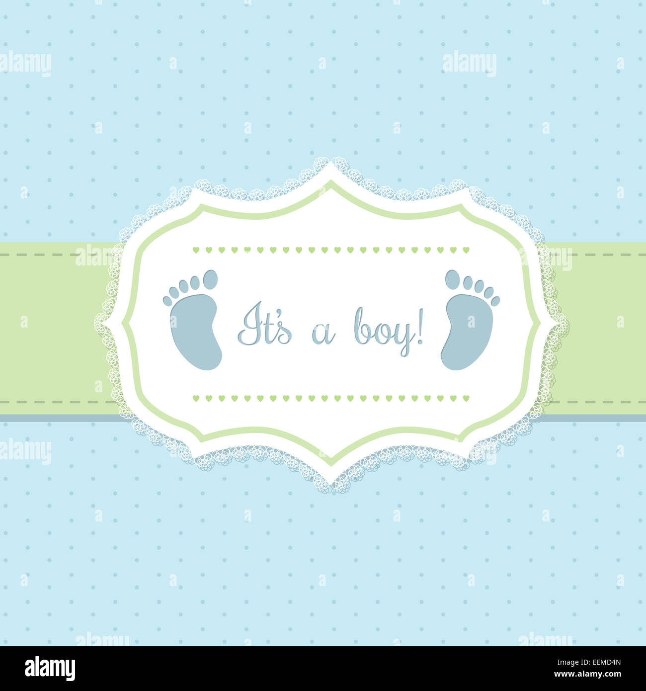 Baby shower invitation design in blue and green with footprints ...