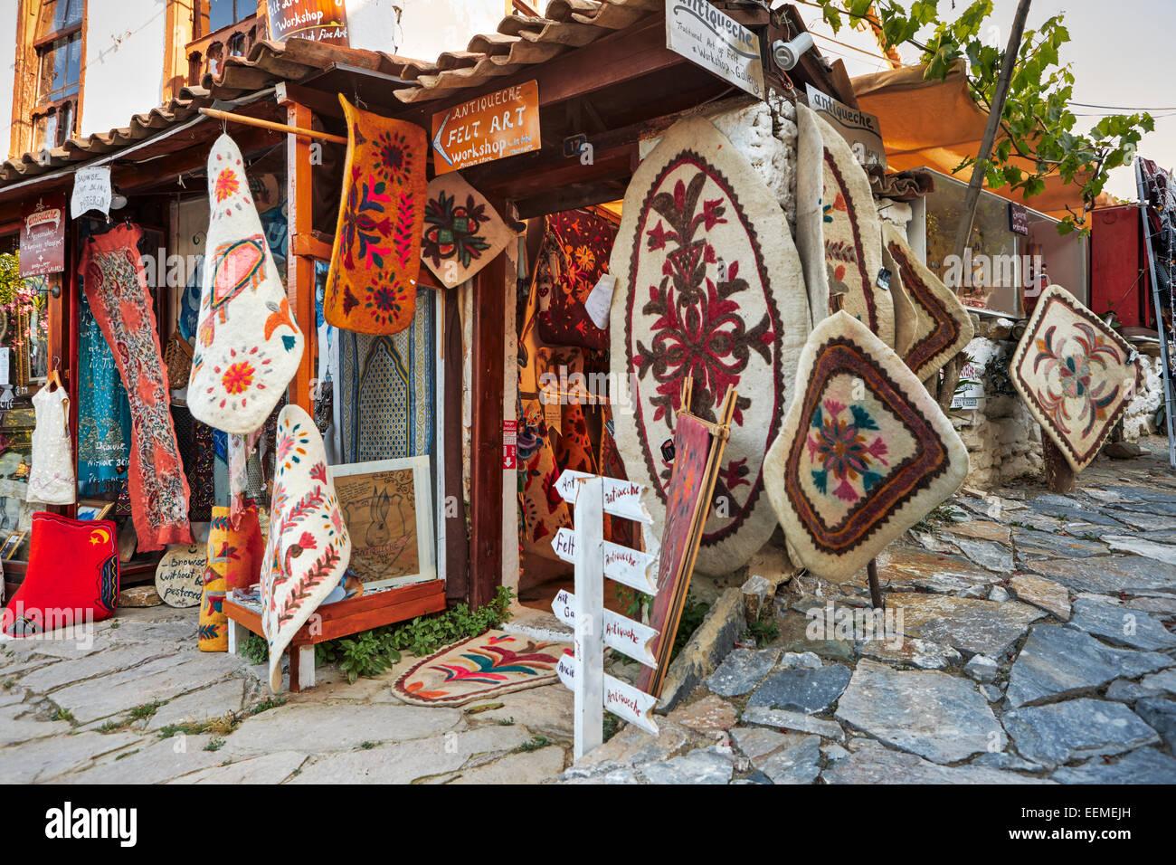 Felt rugs display. Sirince village, Izmir Province, Turkey. - Stock Image