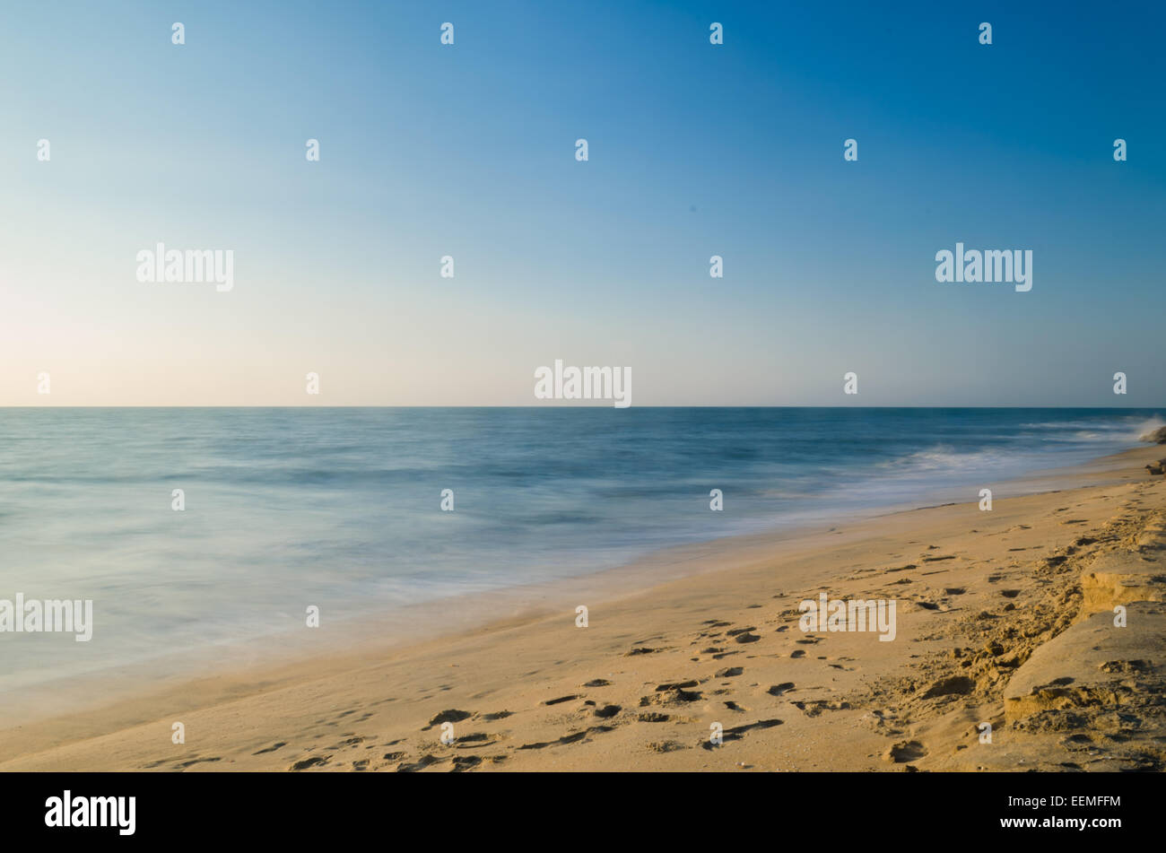 Beach & foot steps - Stock Image