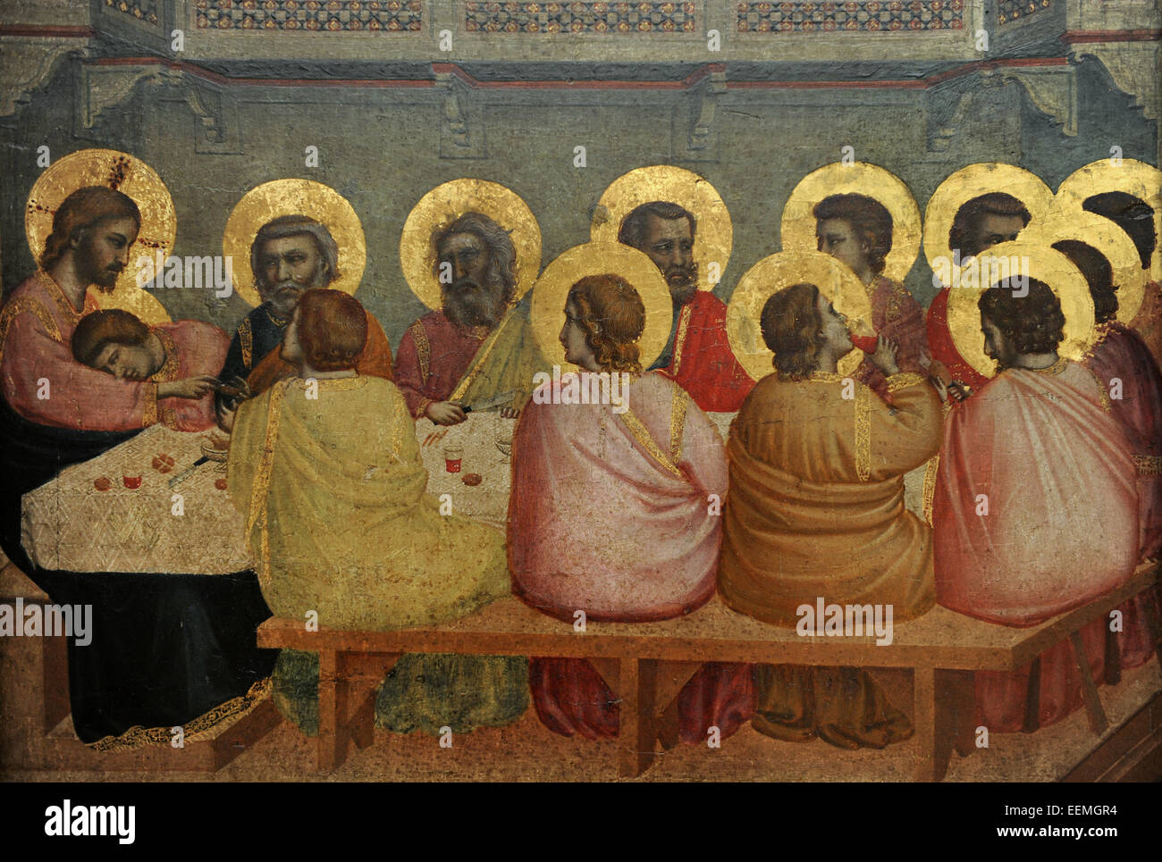 Giotto (1267-1337). Italian painter. Gothic. Last Supper, 1306. From Church  of Santa Croce, Florence. Alte Pinakothek. Munich. Germany.