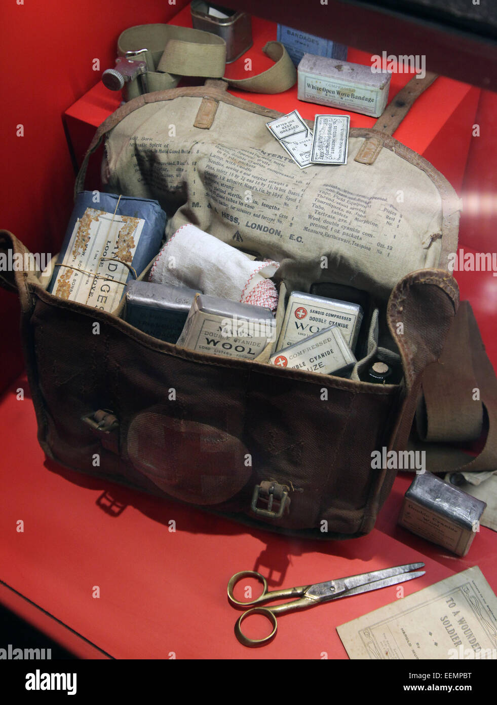 Toiletries personal care and Medical Kit from the first world war in Flanders Fields Museum.Ieper.Ypres.Belgium. - Stock Image