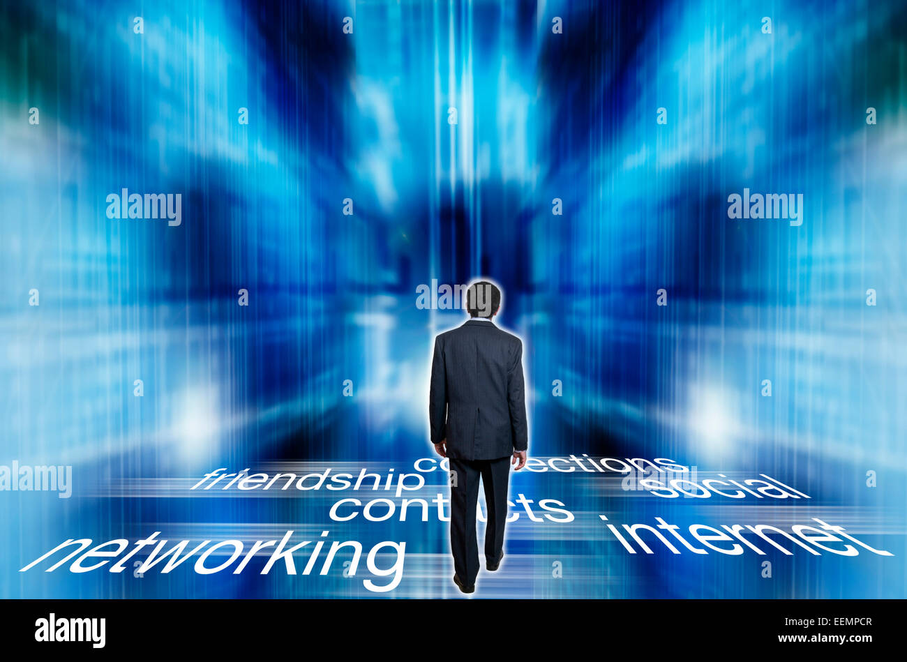 man walking into  cyberspace - Stock Image