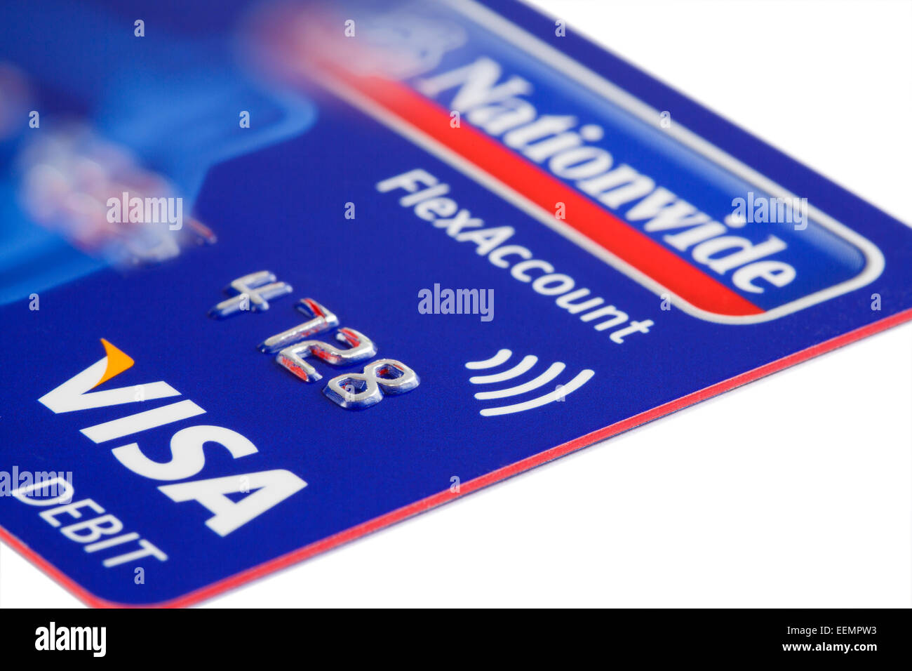 UK issue Visa paywave debit card using contactless payment technology from Nationwide bank on a white background. - Stock Image