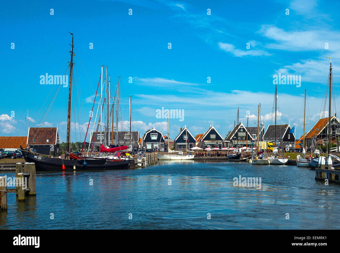 Amsterdam, Waterland district, Marken, boats in the little harbour of the village Stock Photo