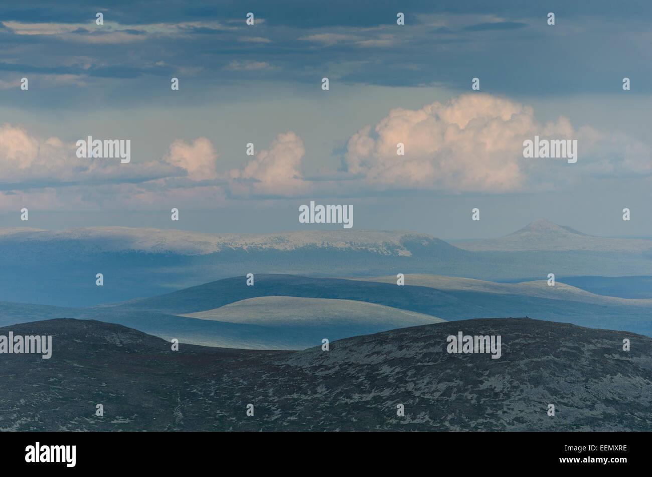 Blick vom Berg Elgahogna, Femundsmarka Nationalpark, Hedmark Fylke, Norwegen, zum Fjaell in Dalarna, Schweden, Juli - Stock Image