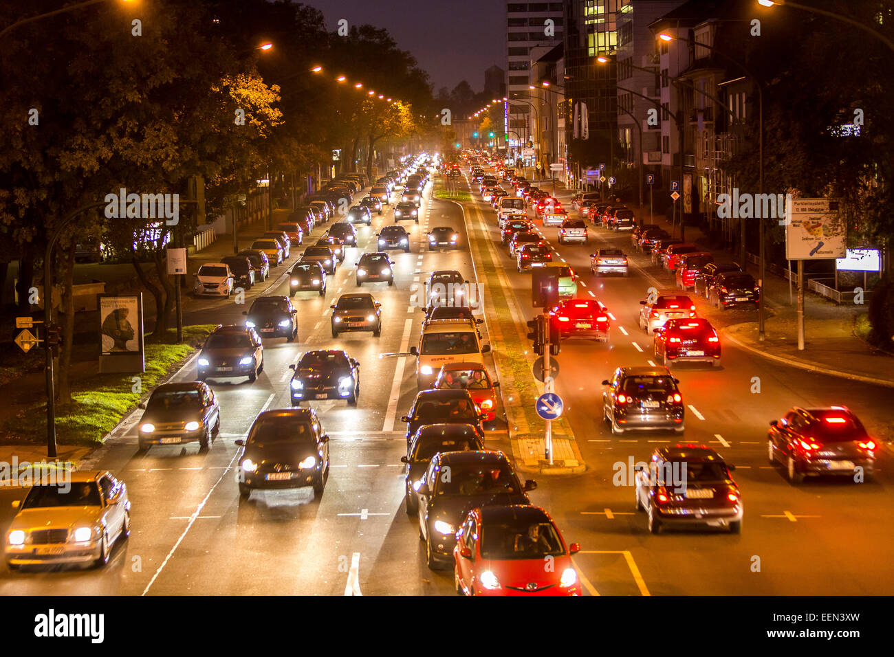 Rush hour in the evening, Alfred Street, Essen, Germany - Stock Image