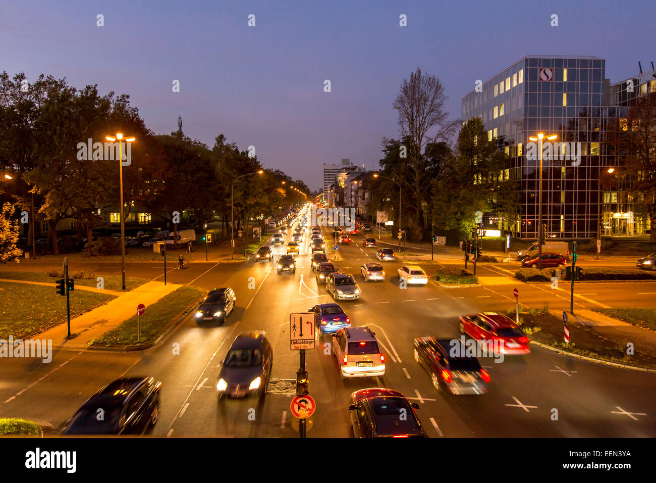 Rush hour in the evening, Alfred Street, Essen, Germany Stock Photo