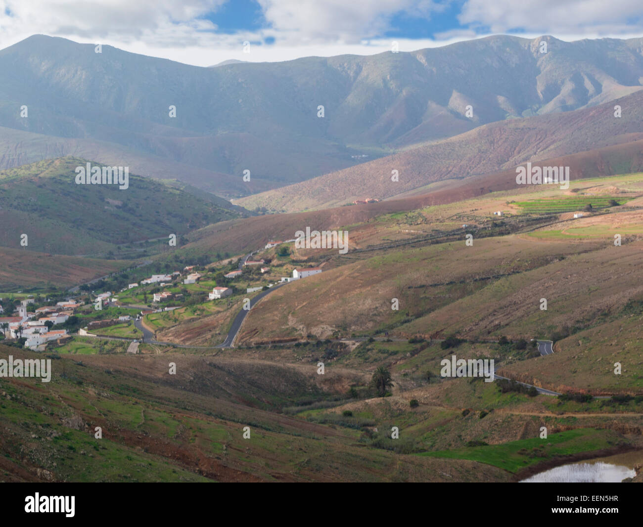 Looking down from Betancuria Massif Rural Parque to island's oldest village of Fuerteventura Canary Islands Stock Photo