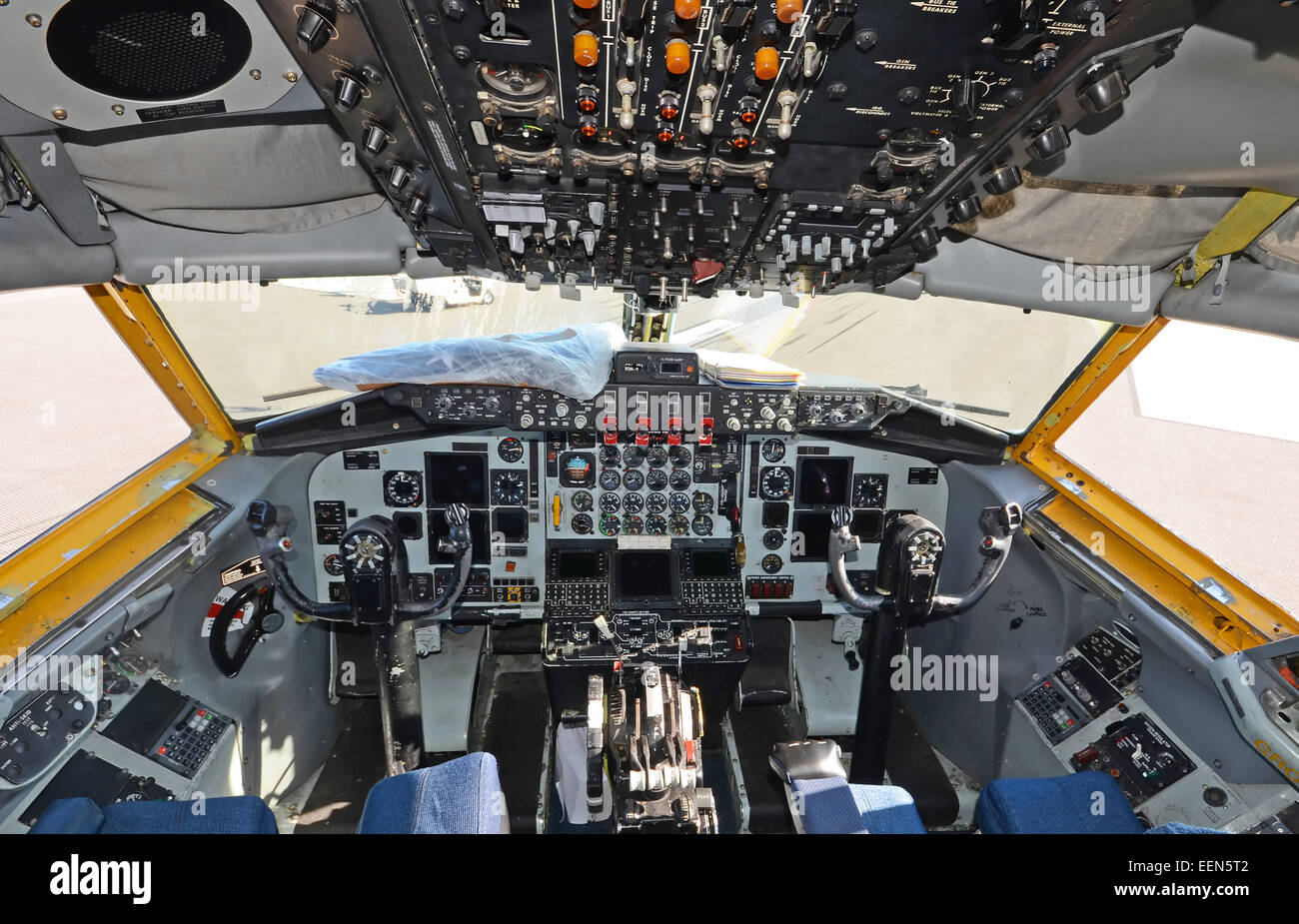 Military air tanker cockpit view of US Air Force KC-135 Stock Photo