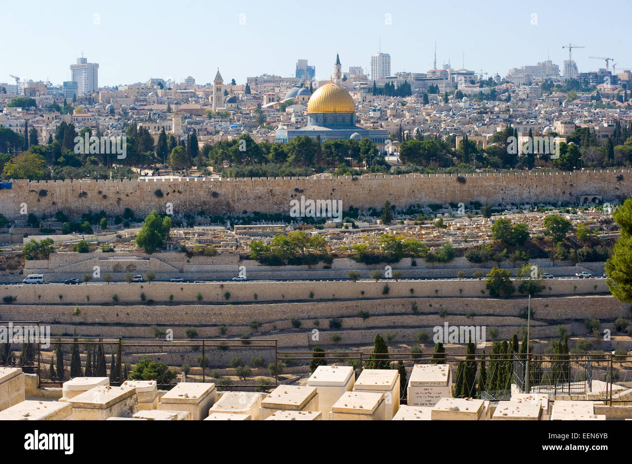 The dome of the rock as seen from the mount of olives - Stock Image