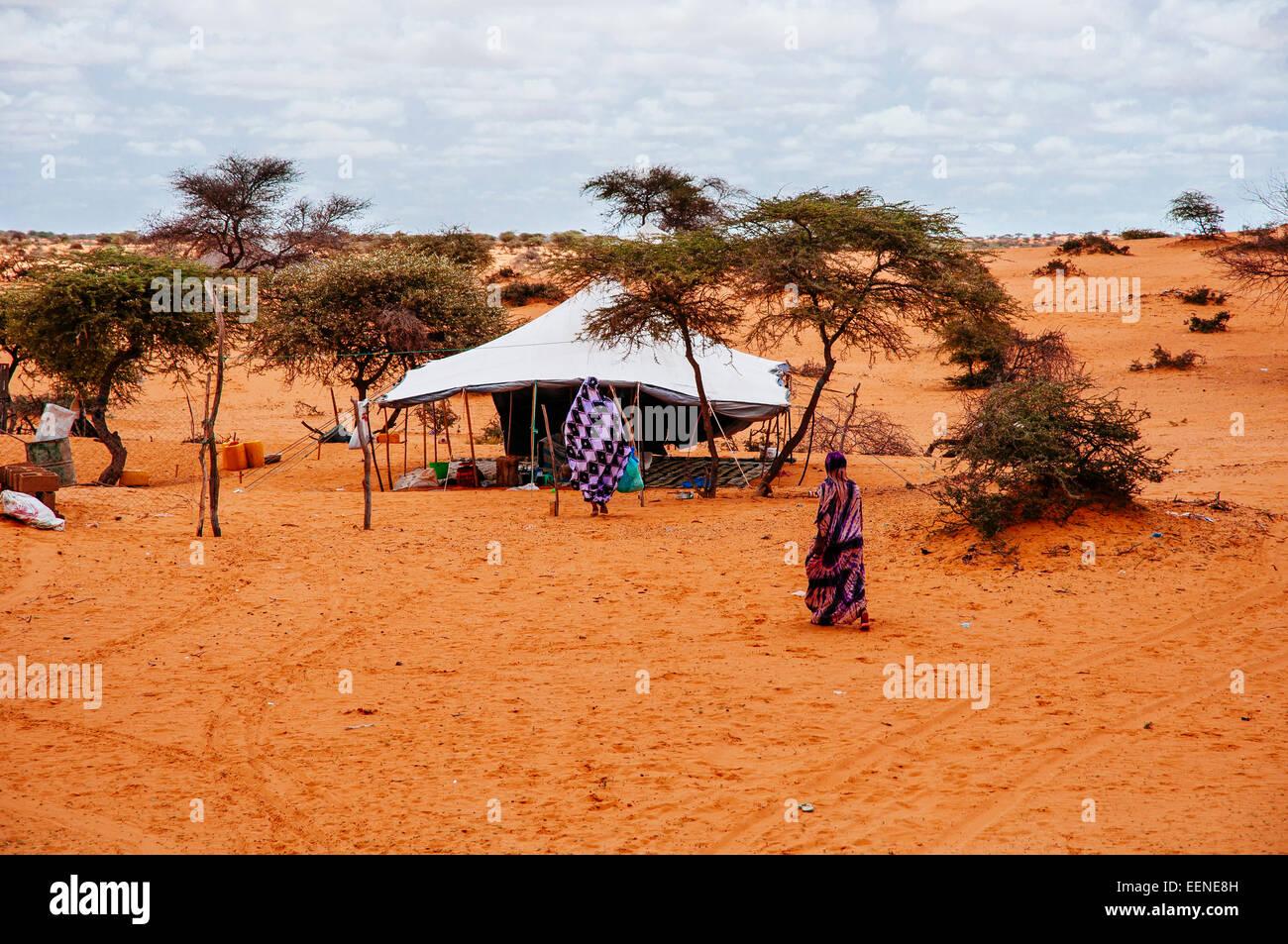Nomadic people´s  tent on the Sahara desert, Mauritania. - Stock Image