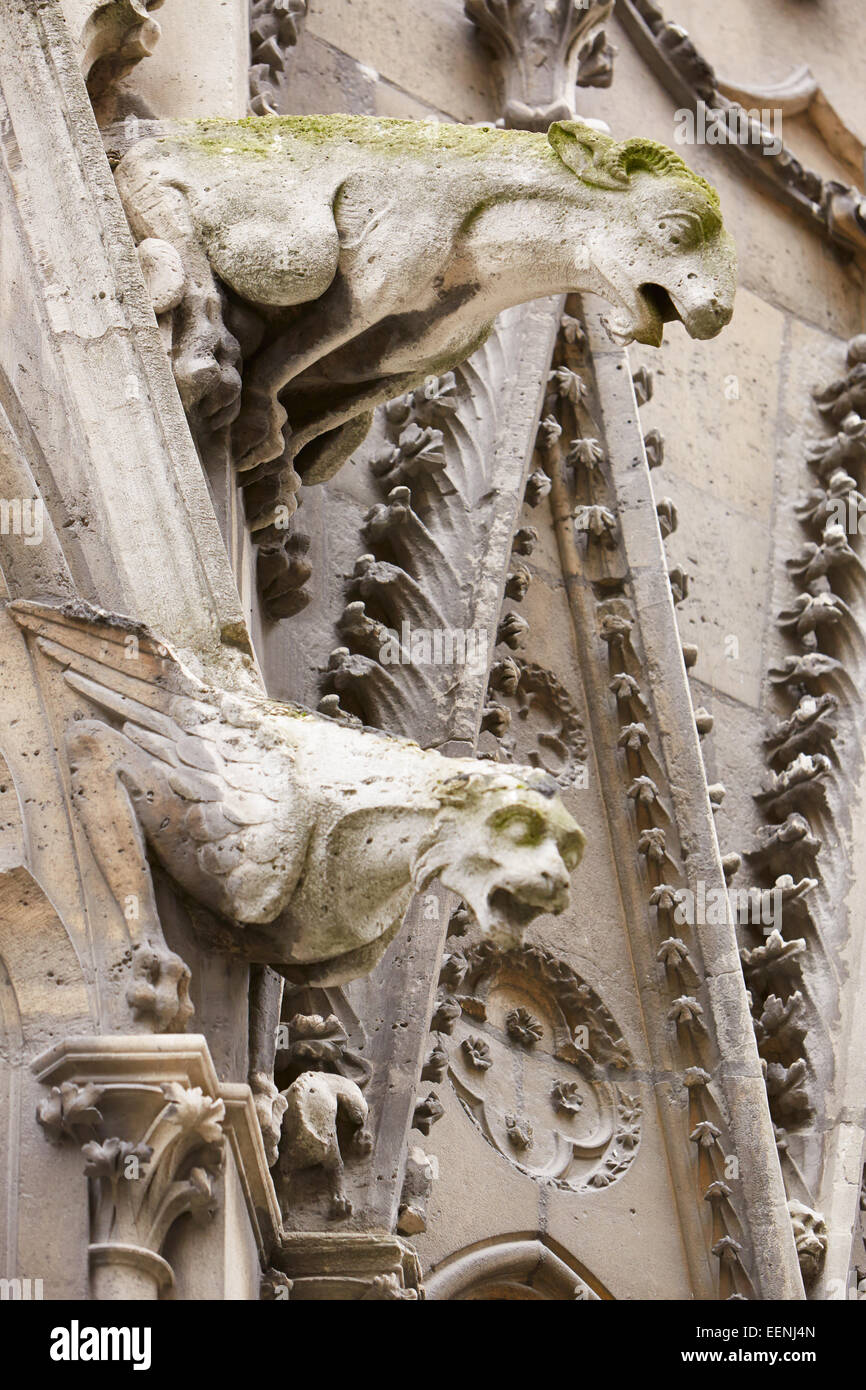 Paris, Notre Dame gargoyles statues on the Gothic cathedral - Stock Image