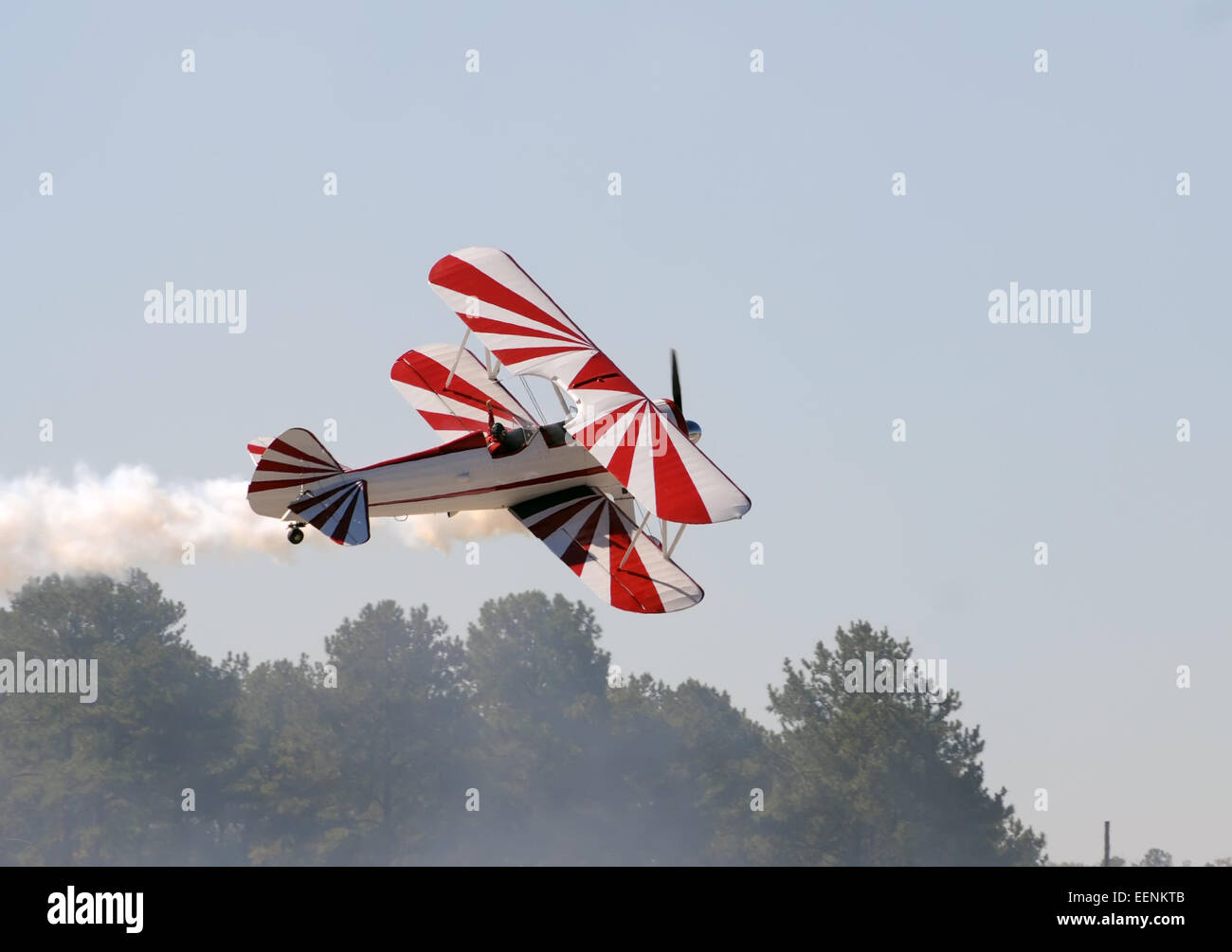 Retro biplane aircraft taking off - Stock Image