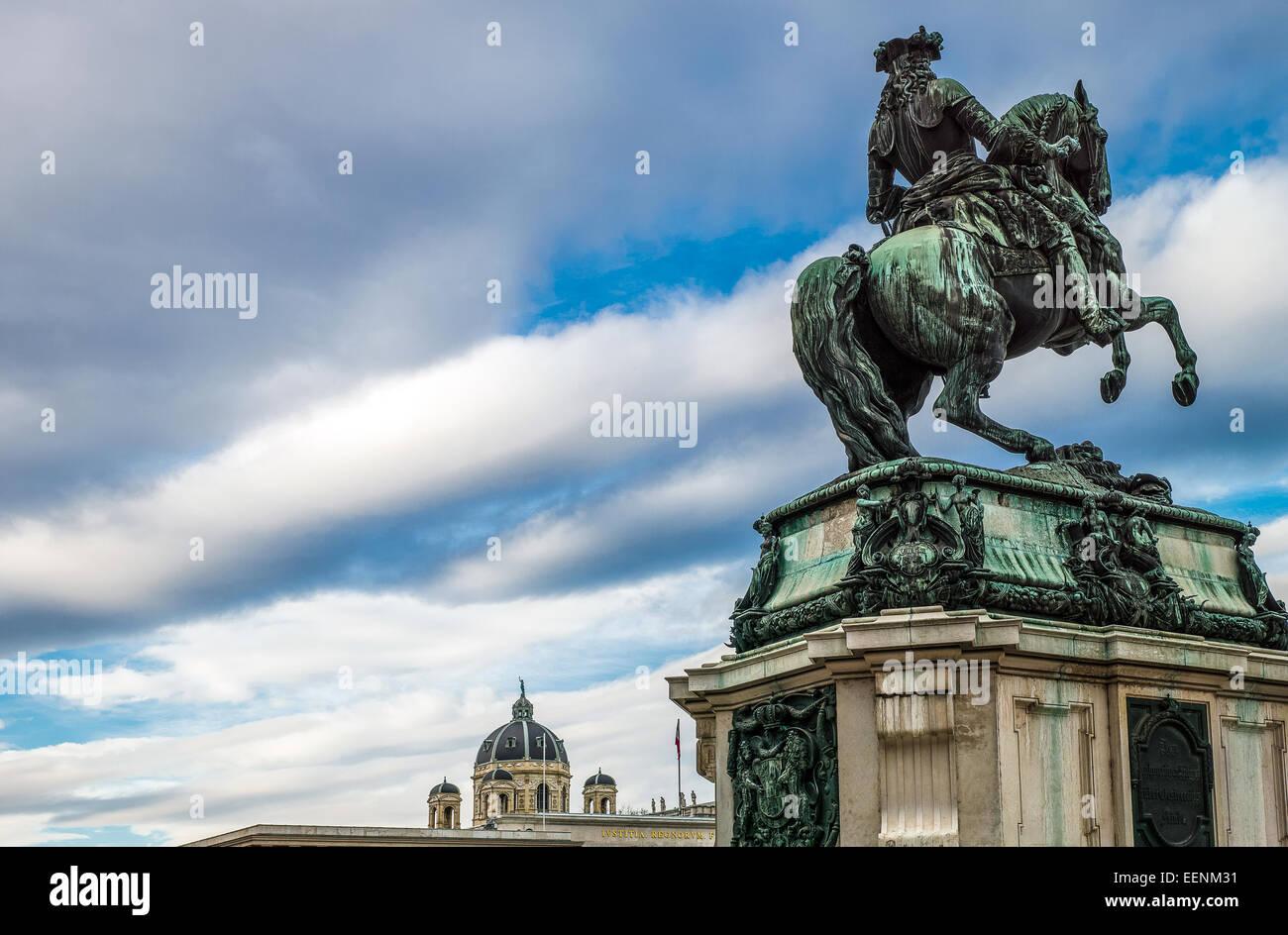 Austria, Vienna, Heldenplatz, the equestrian monument of the Prince Eugene - Stock Image