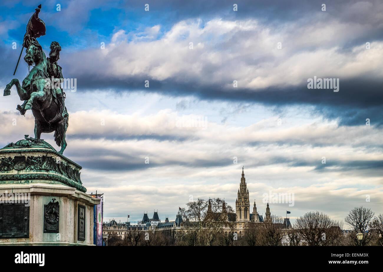 Austria, Vienna, Heldenplatz, the equestrian monument of the Archduke Karl - Stock Image