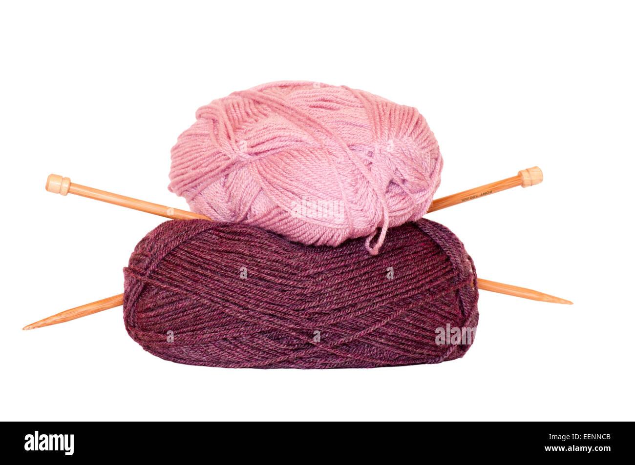Balls Of Wool and Knitting Needles - Stock Image