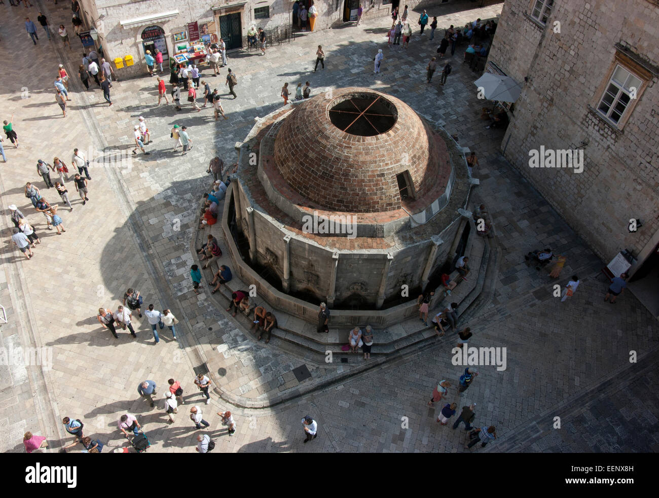 View from old city wall of Onuphrius' fountain, Dubrovnik, Croatia Stock Photo