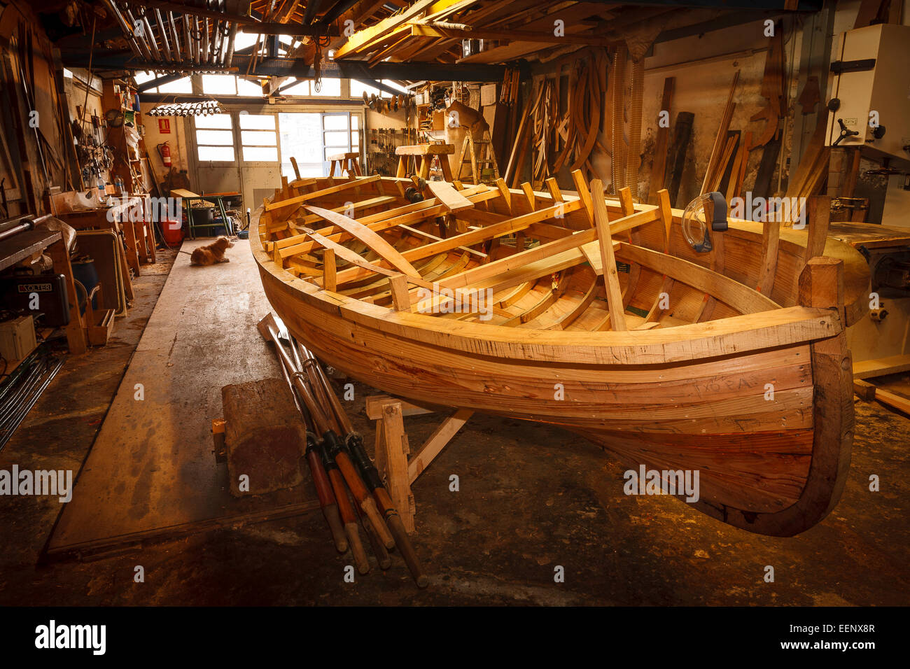 Building boat. Pasaia. Pasajes de San Juan. Guipuzcoa. Basque country. Spain. Europe - Stock Image