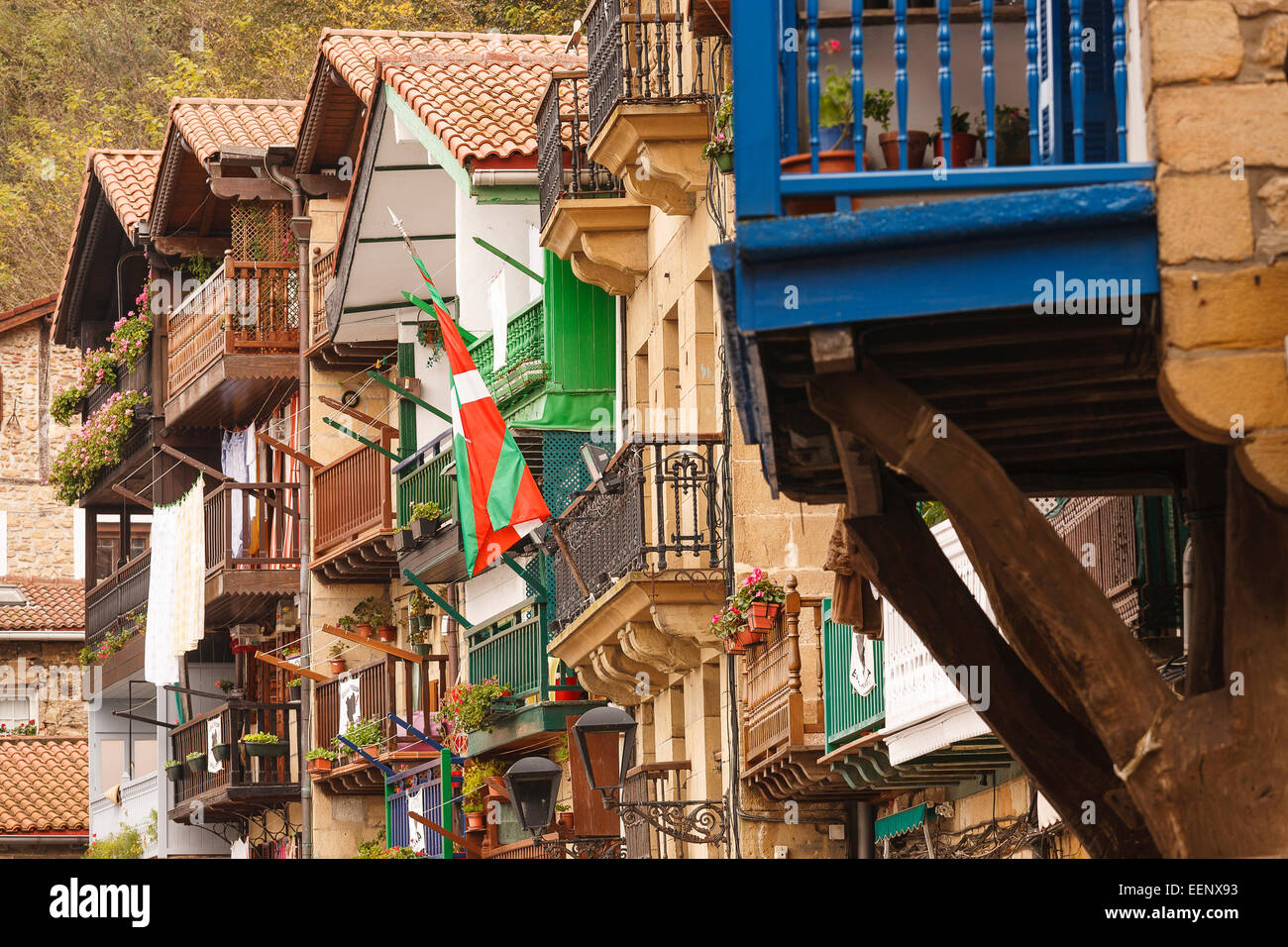 Balcony. Pasaia. Pasajes de San Juan. Guipuzcoa. Basque country. Spain. Europe - Stock Image