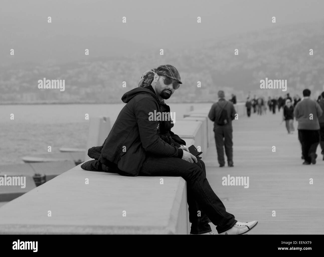 Relaxing by the sea in Beirut - Stock Image