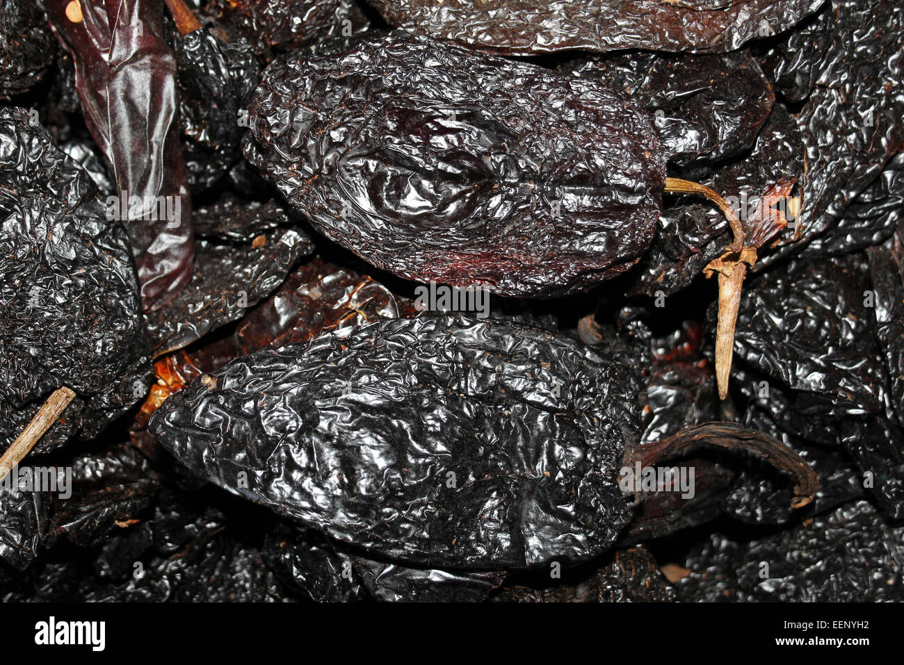 Ancho Chili Peppers - the dried version of Poblano, or 'people' peppers that smell like Raisins - Stock Image