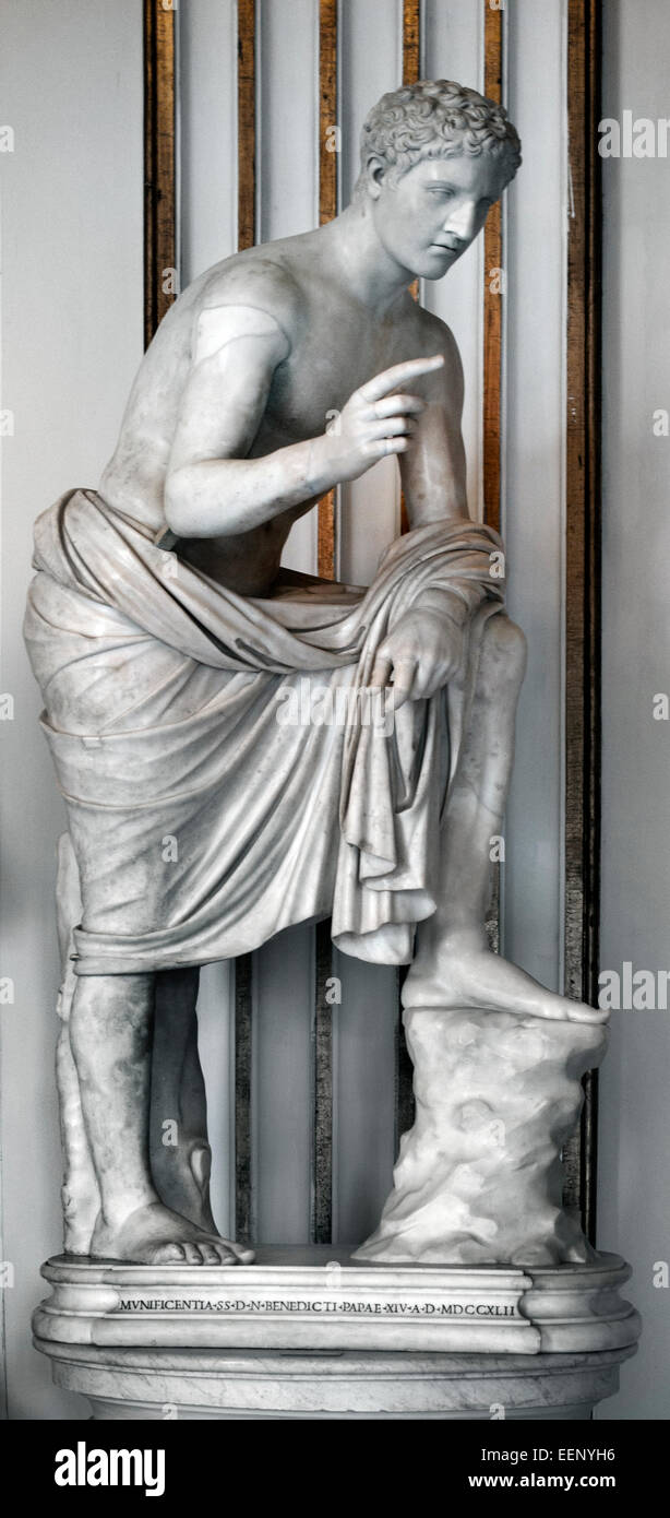 Hermes Greek ( Hermes was the Olympian God of travel, roads, thievery, merchants, and travelers. He was also the - Stock Image