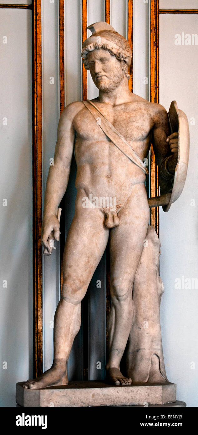 Hadrian emperor (  from 117 to 138 )  as Mars, god of war  second century BC Roman Rome Capitoline Museum Italy - Stock Image