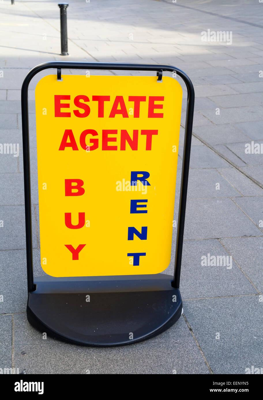 High Sreet Estate agent board - Stock Image