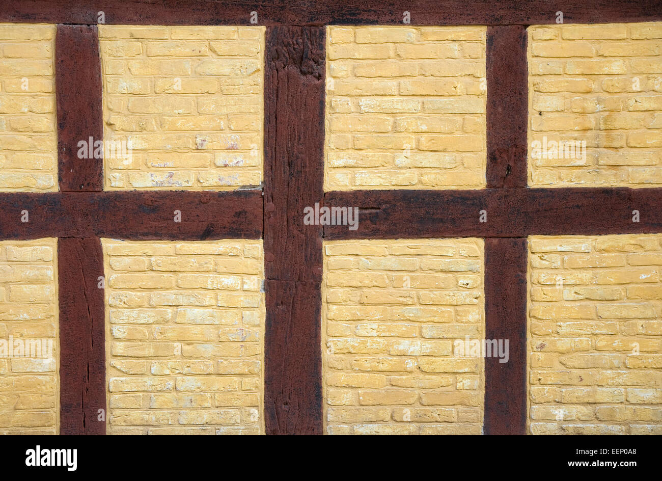 Part of half-timbered wall. Can be used as background - Stock Image
