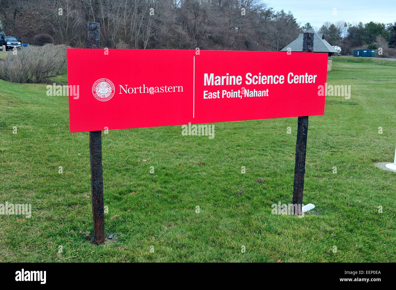 Sign at the entrance to Northeastern University Marine Science Center, East Point, Nahant, Mass. USA - Stock Image