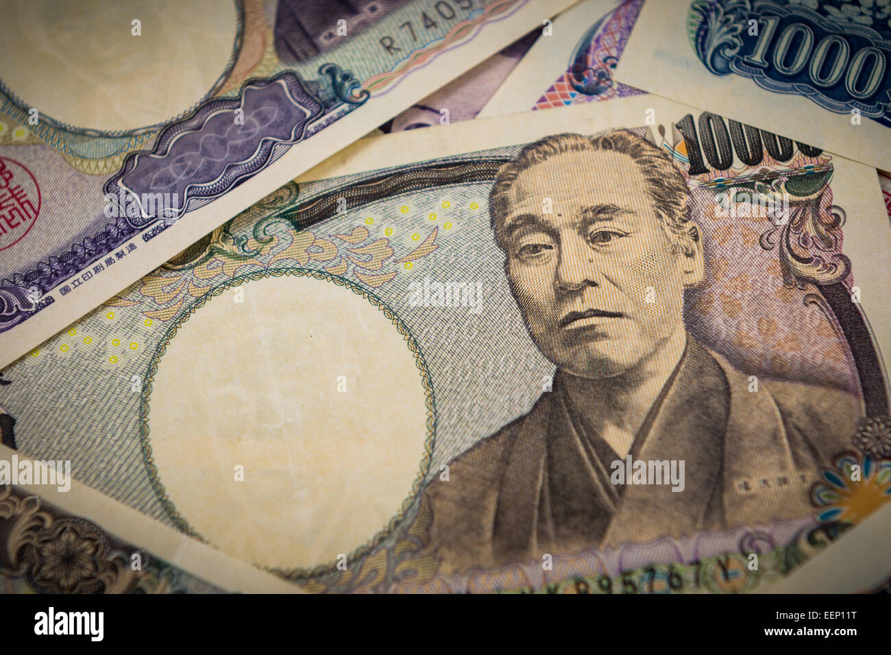Closeup of a pile of Japanese yen. - Stock Image