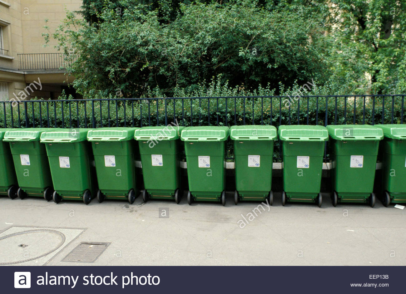 Range of waste containers in Paris, France. - Stock Image