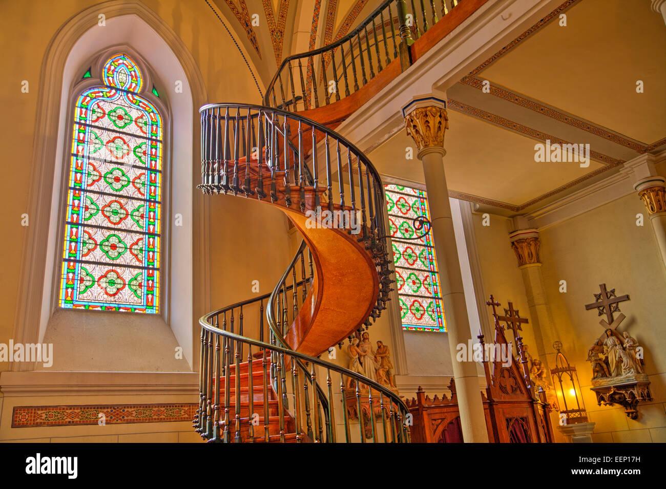 Spiral Staircase Loretto Chapel Santa Fe New Mexico Usa Stock Photo Alamy