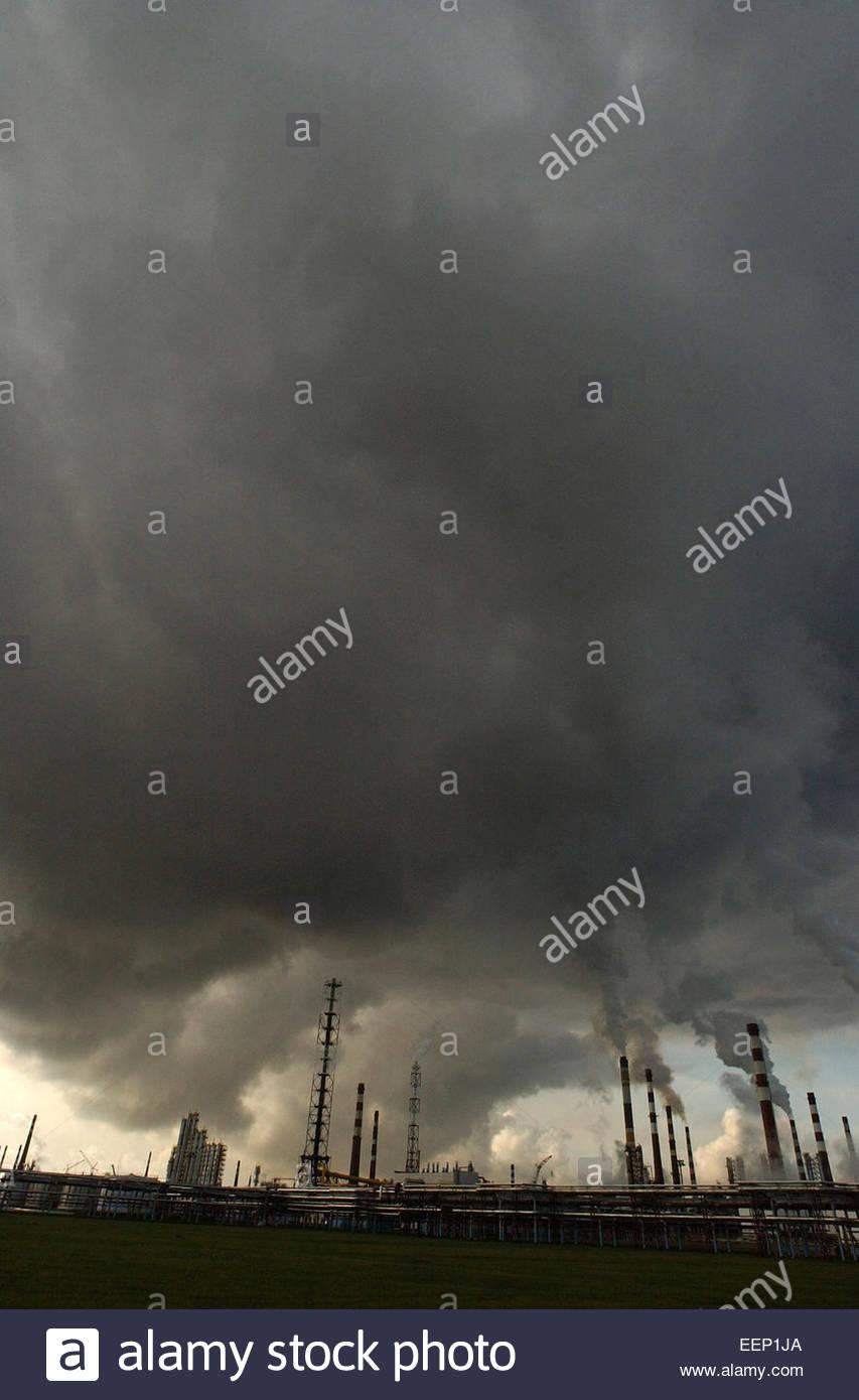 General view on Kinef oil refinery , Surgut, Tiumen province, Russia. - Stock Image